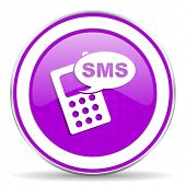 stock photo of sms  - sms violet icon phone sign