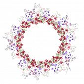 foto of carnation  - Detailed contour wreath with bluebells - JPG