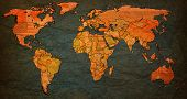 picture of flags world  - bangladesh flag on old vintage world map with national borders - JPG
