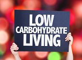 foto of carbohydrate  - Low Carbohydrate Living card with bokeh background - JPG