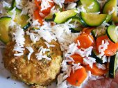 foto of zucchini  - Soy burger, vegetables, carrot, zucchini, basmati rice.