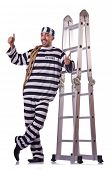 picture of inmate  - Prison inmate isolated on the white - JPG