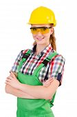 picture of overalls  - Female handyman in overalls isolated on white - JPG