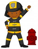 image of fireman  - Closeup fireman in protective clothes standing next to the pipe - JPG