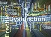 stock photo of viagra  - Background concept wordcloud illustration of erectile dysfunction ED glowing light - JPG