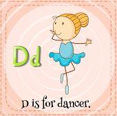 stock photo of letter d  - Flashcard letter D is for dancer - JPG