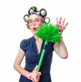pic of housekeeping  - Woman with brush - JPG