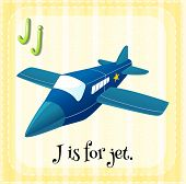 picture of jet  - Flashcard letter J is for jet - JPG