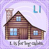 foto of log cabin  - Flashcard letter L is for log cabin - JPG