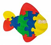 picture of game-fish  - Colorful wooden puzzle pieces in fish shape isolated over white background - JPG