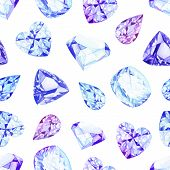 pic of violet  - Blue and violet diamond crystals watercolor seamless vector pattern - JPG