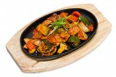 picture of pot roast  - Roasted meat with vegetables in a skillet - JPG