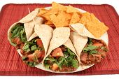 pic of mexican food  - colorful mexican fajitas and crunchy nacho chips - JPG