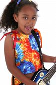 picture of 6 year old  - Beautiful Six Year Old Girl With Blue Electric Guitar Over White - JPG