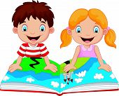 stock photo of terrific  - Vector illustration of Cartoon boy and girl were readings the story - JPG