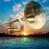 stock photo of trumpet  - abstract sunrise background with silhouette of London and trumpet - JPG