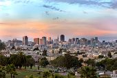 stock photo of forty-niner  - Beautiful of Dolores Park San Francisco with background Downtown - JPG