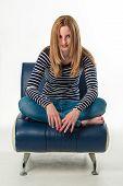 foto of legs crossed  - Beautiful stylish blonde young woman sitting cross - JPG