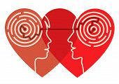 picture of psychological  - Young couple silhouettes in the heart shape with maze symbolizing psychological processes of love - JPG