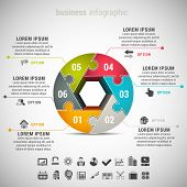stock photo of puzzle  - Vector illustration of business infographic made of puzzle - JPG