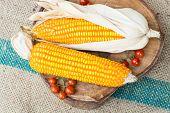 picture of corn-silk  - Dry brown corn and mini tomato - JPG