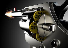 pic of gunshot  - Gunshot from pistol isolated on a white background - JPG