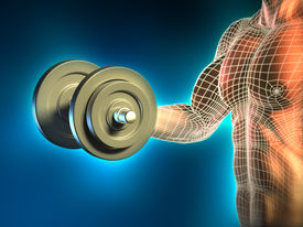 image of weight-lifting  - Conceptual image of a young man doing weight lifting exercises - JPG