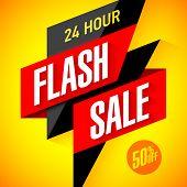 24 hour Flash Sale banner. Vector illustration. poster