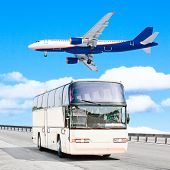 picture of land-mass  - plane and bus - JPG
