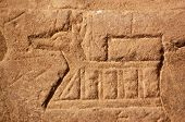 picture of anubis  - Ancient Egyptian carving on the wall of the Temple of Isis at Philae - JPG