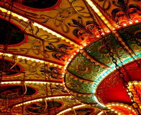 foto of carousel horse  - merry go round perspective ride childrencolor gold  - JPG