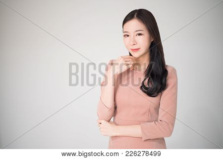 poster of Beautiful Asian Woman Happy Smile With Casual Clothes On White Background. Smart, Beautiful, Mature,