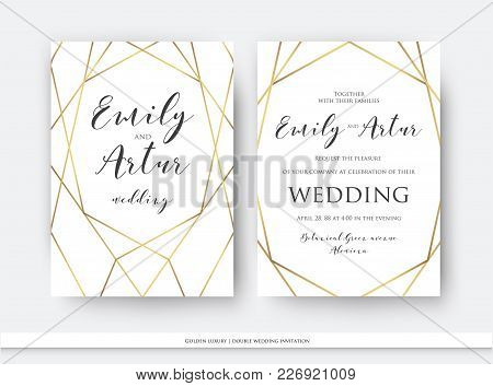 poster of Wedding Double Invite, Invitation Save The Date Card Elegant Design With Luxury Vector Golden Foil G