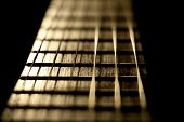 Concert Music Instrument Guitar Strings In Golden Musician Style. Closeup Of The String Instrument F poster