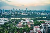 Aerial View Of A Hoan Kiem Lake Or Sword Lake, Ho Guom In Vietnamese At Night. Hanoi Skyline View. H poster