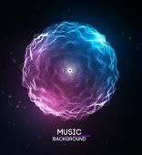 Music Abstract Background Blue. Equalizer For Music, Showing Sound Waves With Music Waves, Music Bac poster