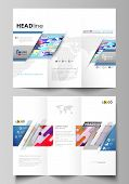 Tri-fold Brochure Business Templates On Both Sides. Easy Editable Abstract Vector Layout In Flat Des poster