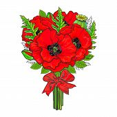 Big Bunch, Bouquet Of Red Poppy Flowers Tied Up With Silk Ribbon, Sketch Style, Hand Drawn Vector Il poster
