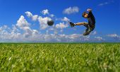 Boy Playing Soccer - Clipping Path