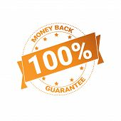 Golden Badge Money Back With Guarantee 100 Percent Seal Stamp Isolated Vector Illustration poster
