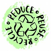 Reduce, Reuse, Recycle Lettering. Vector Hand Drawn Recycling Sign. Earth Day Eco Design. poster