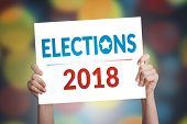 Elections 2018 Card In Hand With Bokeh Background poster
