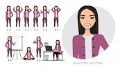 Set Of Emotions And Poses For Asian Business Woman.young Girl In A Cartoon Style Experiences Differe poster