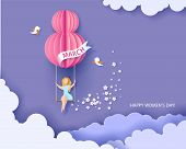 Card For 8 March Womens Day. Woman On Swing. Abstract Background With Text And Flowers .vector Illus poster