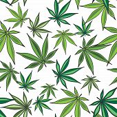 Vector Marijuana Cannabis Leaves Seamless Pattern Background poster