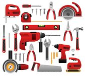 Construction Tools. Construct Tool Icon Set With Screwdriver And Saw, Spanner And Roulette, Hammer A poster