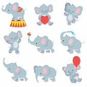 Funny Cartoon Baby Elephants Vector Collection For Kids Stickers. Elephant Funny Character With Flow poster
