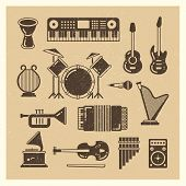 Classic Music Instruments Grunge Silhouettes Set. Vector Musical Instrument And Music Sound Illustra poster