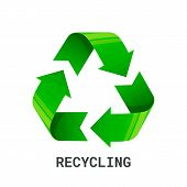 Recycling. Green Recycle Eco Symbol. Isolated On White Background. Recycled Arrows Sign. Cycle Recyc poster