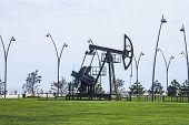 Oil Pump Pumping Oil In Former Oil Fields. Equipment Of The Oil Industry. Baku, Azerbaijan, poster